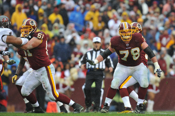 LANDOVER, MD - DECEMBER 12:  Kory Lichtensteiger #78 of the Washington Redskins defends against the Tampa Bay Buccaneers  at FedExField on December 12, 2010 in Landover, Maryland. The Buccaneers defeated the Redskins 17-16. (Photo by Larry French/Getty Im