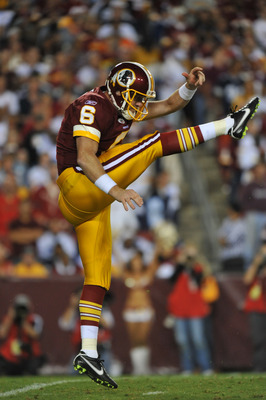 LANDOVER - SEPTEMBER 12:  Josh Bidwell #6 of the Washington Redskins punts during the NFL season opener against the Dallas Cowboys at FedExField on September 12, 2010 in Landover, Maryland. The Redskins defeated the Cowboys 13-7. (Photo by Larry French/Ge