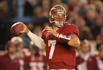 TALLAHASSEE, FL - NOVEMBER 27:  Christian Ponder #7 of the Florida State Seminoles throws for a first down during a game against the Florida Gators at Doak Campbell Stadium on November 27, 2010 in Tallahassee, Florida.  (Photo by Mike Ehrmann/Getty Images