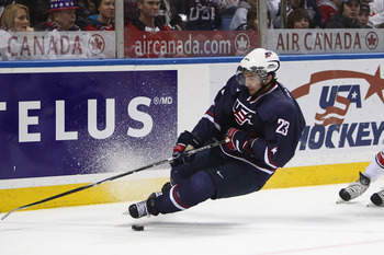 BUFFALO, NY - DECEMBER 31: Forward Kyle Palmieri #23 of USA loses his footing and falls during the 2011 IIHF World U20 Championship game between USA and Switzerland on December 31, 2010 at HSBC Arena in Buffalo, New York. (Photo by Tom Szczerbowski/Getty