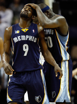 Zach Randolph and Tony Allen showing some teammate love as they beat the number-one seeded San Antonio Spurs.