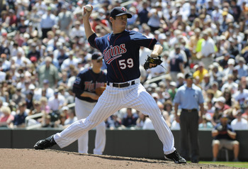 MINNEAPOLIS, MN - JUNE 30: Kevin Slowey #59 of the Minnesota Twins pitches in the fourth inning against the Detroit Tigers during their game on June 30, 2010 at Target Field in Minneapolis, Minnesota. Twins won 5-1. (Photo by Hannah Foslien /Getty Images)