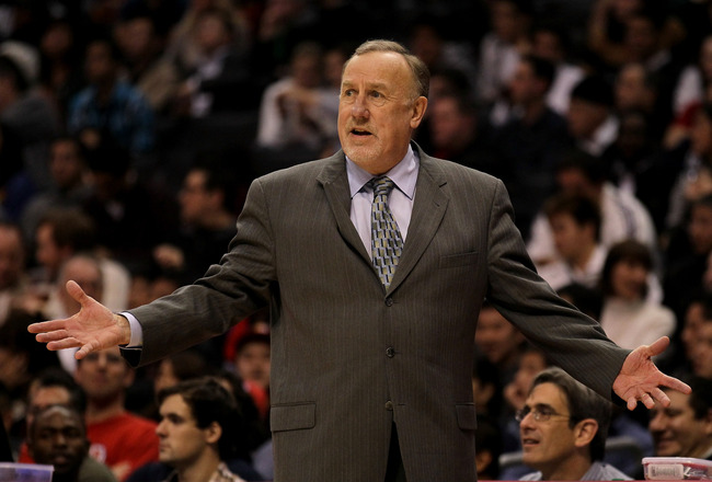 LOS ANGELES, CA - DECEMBER 22: Head coach Rick Adelman of the Houston Rockets complains to an official in the game with the Los Angeles Clippers at Staples Center on December 22, 2010 in Los Angeles, California.  The Rockets won 97-92. NOTE TO USER: User
