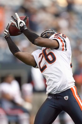 SEATTLE - AUGUST 16:  Trumaine McBride #26 of the Chicago Bears catches the ball before the game against the Seattle Seahawks at Qwest Field on August 16, 2008 in Seattle, Washington. The Seahawks defeated the Bears 29-26. (Photo by Otto Greule Jr/Getty I