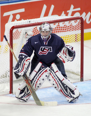 BUFFALO, NY - JANUARY 05: Jack Campbell #1 of the United States stands in goal against Sweden during the 2011 IIHF World U20 Championship Bronze medal game between United States and Sweden at the HSBC Arena on January 5, 2011 in Buffalo, New York. The Uni