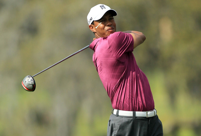 ORLANDO, FL - MARCH 26:  Tiger Woods plays hie tee shot at the 16th hole during the third round of the 2011 Arnold Palmer Invitational presented by Mastercard at the Bay Hill Lodge and Country Club on March 26, 2011 in Orlando, Florida.  (Photo by David C