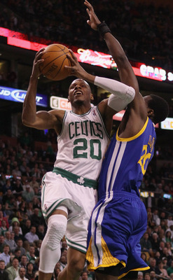 BOSTON, MA - MARCH 04:  Ray Allen #20 of the Boston Celtics takes a shot as Ekpe Udoh #20 of the Golden State Warriors defends on March 4, 2011 at the TD Garden in Boston, Massachusetts.  NOTE TO USER: User expressly acknowledges and agrees that, by downl