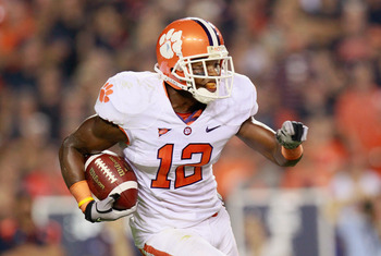AUBURN, AL - SEPTEMBER 18:  Marcus Gilchrist #12 of the Clemson Tigers against the Auburn Tigers at Jordan-Hare Stadium on September 18, 2010 in Auburn, Alabama.  (Photo by Kevin C. Cox/Getty Images)