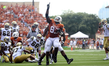 AUSTIN, TX - SEPTEMBER 25:  Defensive end Sam Acho #81 of the Texas Longhorns reacts after making a fumble recovery against the UCLA Bruins at Darrell K Royal-Texas Memorial Stadium on September 25, 2010 in Austin, Texas.  (Photo by Ronald Martinez/Getty