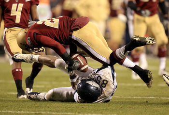 SAN FRANCISCO, CA - JANUARY 09:  Virgil Green #85 of the Nevada Wolf Pack and Okechukwu Okoroha #27 of Boston College fight for the ball during the Kraft Fight Hunger Bowl at AT&T Park on January 9, 2011 in San Francisco, California. Green came down with