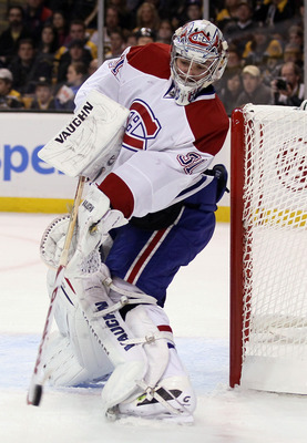 BOSTON, MA - APRIL 16:  Carey Price #31 of the Montreal Canadiens clears the puck against the Boston Bruins in Game Two of the Eastern Conference Quarterfinals during the 2011 NHL Stanley Cup Playoffs at TD Garden on April 16, 2011 in Boston, Massachusett