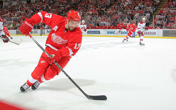 DETROIT, MI- APRIL 13:  Pavel Datsyuk #13 the Detroit Red Wings skates against the Phoenix Coyotes in Game One of the Western Conference Quarterfinals during the 2011 NHL Stanley Cup Playoffs at Joe Louis Arena on April 13, 2011 in Detroit, Michigan.(Phot