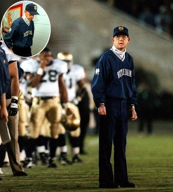 Notre Dame head coach Lou Holtz reacts to his first loss to USC