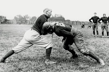 Knute Rockne in 1926 getting ready to play USC