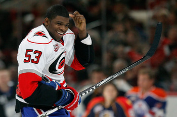 RALEIGH, NC - JANUARY 29:  P.K. Subban #76 of the Montreal Canadiens wears a Skinner jersey in the breakaway challenge during the Honda NHL SuperSkills competition part of 2011 NHL All-Star Weekend at the RBC Center on January 29, 2011 in Raleigh, North C
