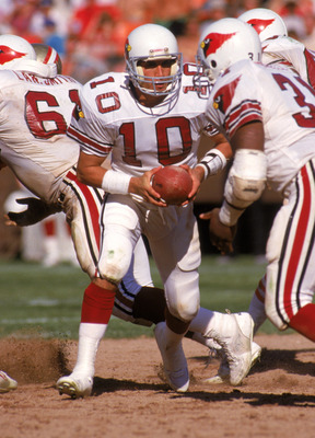 SAN FRANCISCO - OCTOBER 18:  Quarterback Sammy Garza #10 of the St. Louis Cardinals runs a play during a game against the San Francisco 49ers at Candlestick Park on October 18, 1987 in San Francisco, California.  The 49ers won 34-28.  (Photo by George Ros