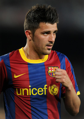 BARCELONA, SPAIN - APRIL 09:  David Villa of Barcelona looks on during the la Liga match between FC Barcelona and UD Almeria at the Camp Nou stadium on April 9, 2011 in Barcelona, Spain.  (Photo by Jasper Juinen/Getty Images)