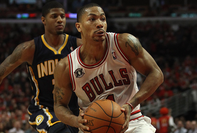 CHICAGO, IL - APRIL 18: Derrick Rose #1 of the Chicago Bulls moves against the Indiana Pacers in Game Two of the Eastern Conference Quarterfinals in the 2011 NBA Playoffs at the United Center on April 18, 2011 in Chicago, Illinois. The Bulls defeated the