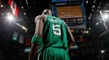 ATLANTA, GA - APRIL 01:  Kevin Garnett #5 of the Boston Celtics against the Atlanta Hawks at Philips Arena on April 1, 2011 in Atlanta, Georgia.  NOTE TO USER: User expressly acknowledges and agrees that, by downloading and/or using this Photograph, user