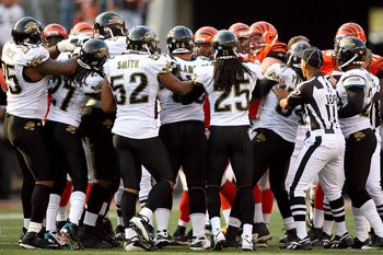 CINCINNATI - NOVEMBER 02:  Members of the Jacksonville Jaguars are separated from the Cincinnati Bengals after a scuffle at Paul Brown Stadium November 2, 2008 in Cincinnati, Ohio.  (Photo by Matthew Stockman/Getty Images)