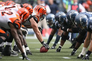 SEATTLE - SEPTEMBER 23:  Center Eric Ghiaciuc #53 of the Cincinnati Bengals prepares to snap the ball against the Seattle Seahawks at Qwest Field on September 23, 2007 in Seattle, Washington. The Seahawks won 24-21. (Photo by Otto Greule Jr/Getty Images)