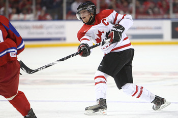 BUFFALO, NY - DECEMBER 26:  Ryan Ellis #6 of Canada fires a shot during the 2011 IIHF World U20 Championship Group B game between Canada and Russia on December 26, 2010 at HSBC Arena in Buffalo, New York. (Photo by Tom Szczerbowski/Getty Images)