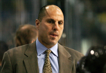 TAMPA, FL - NOVEMBER 21:  Head coach Rick Tocchet of the Tampa Bay Lightning watches his team take on the Nashville Predators at the St. Pete Times Forum on November 21, 2008 in Tampa, Florida.   (Photo by Doug Benc/Getty Images)