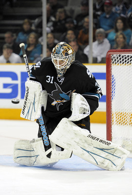 SAN JOSE, CA - APRIL 16: Antti Niemi #31 of the San Jose Sharks makes a save against the Los Angeles Kings in Game Two of the Western Conference Quarterfinals  during the 2011 NHL Stanley Cup Playoffs at the HP Pavilion on April 16, 2011 in San Jose, Cali