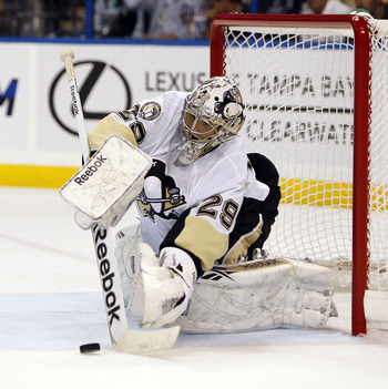 TAMPA, FL - APRIL 18: Goaltender Marc-Andre Fleury #29 of the Pittsburgh Penguins defends the net against the Tampa Bay Lightning in Game Three of the Eastern Conference Quarterfinals during the 2011 NHL Stanley Cup Playoffs at the St. Pete Times Forum on