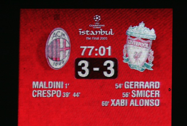 ISTANBUL, TURKEY - MAY 25:  The electronic scoreboard indicates Liverpool's amazing comeback during the European Champions League final between Liverpool and AC Milan on May 25, 2005 at the Ataturk Olympic Stadium in Istanbul, Turkey.   (Photo by Clive Br
