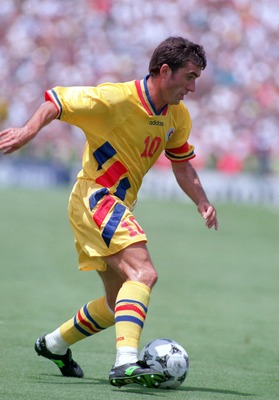 Gheorghe Hagi on the ball for Romania in the 1994 World Cup