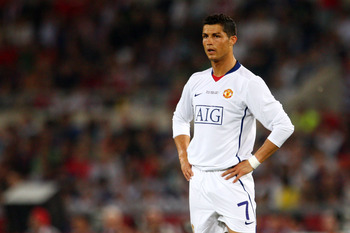 ROME - MAY 27:  Cristiano Ronaldo of Manchester United looks on during the UEFA Champions League Final match between Barcelona and Manchester United at the Stadio Olimpico on May 27, 2009 in Rome, Italy.  (Photo by Laurence Griffiths/Getty Images)