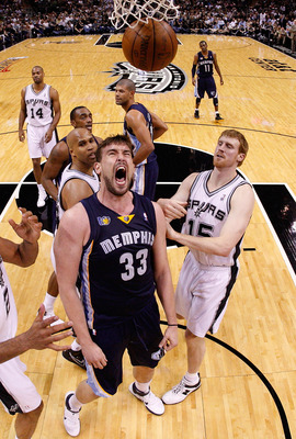 SAN ANTONIO, TX - APRIL 17:  Center Marc Gasol #33 of the Memphis Grizzlies reacts against the San Antonio Spurs in Game One of the Western Conference Quarterfinals in the 2011 NBA Playoffs on April 17, 2011 at AT&T Center in San Antonio, Texas.  NOTE TO