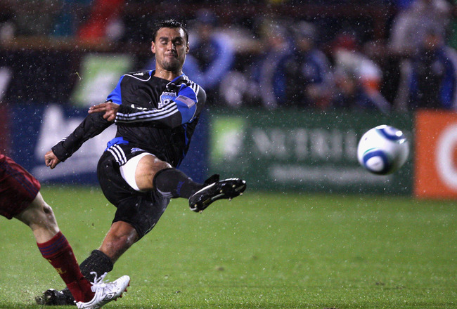 SANTA CLARA, CA - MARCH 19: Chris Wondolowski #8 of the San Jose Earthquakes takes a shot on goal during their game against Real Salt Lake at Buck Shaw Stadium on March 19, 2011 in Santa Clara, California.  (Photo by Ezra Shaw/Getty Images)