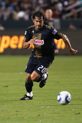 CARSON, CA - APRIL 02:  Carlos Ruiz #20 of the Philadelphia Union defends against the Los Angeles Galaxy during the Philadelphia Union v Los Angeles Galaxy Match at The Home Depot Center on April 2, 2011 in Carson, California.  (Photo by Joe Scarnici/Gett