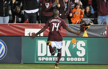 COMMERCE CITY, CO - MARCH 19: Omar Cummings #14 of the Colorado Rapids reacts to his goal against the Portland Timbers on March 19, 2011 at Dicks Sporting Goods Park in Commerce City, Colorado.  (Photo by Bart Young/Getty Images)
