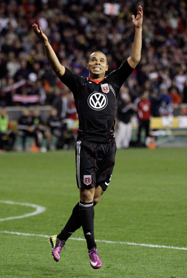 WASHINGTON, DC - APRIL 09:  Charlie Davies #9 of the D.C. United celebrates his goal against the Los Angeles Galaxy during the second half at RFK Stadium on April 9, 2011 in Washington, DC. The game ended in a 1-1  draw.  (Photo by Rob Carr/Getty Images)