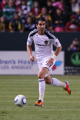 CARSON, CA - APRIL 02:  Juan Pablo Angel #9 of the Los Angeles Galaxy controls the ball  against the Philadelphia Union during the match at The Home Depot Center on April 2, 2011 in Carson, California.  (Photo by Joe Scarnici/Getty Images)