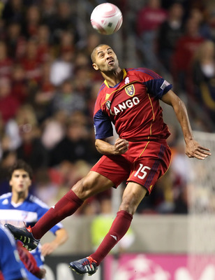 SANDY, UT - SEPTEMBER 16: Alvaro Saborio #15 of Real Salt Lake of heads the ball as Marvin Chavez #18 and Daniel Hernandez #2 FC Dallas looks on during the second half of an MLS soccer game September 16, 2010 at Rio Tinto Stadium in Sandy, Utah. Real Salt
