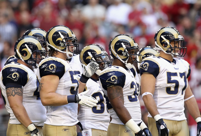 GLENDALE, AZ - DECEMBER 05:  The St. Louis Rams during the NFL game against the Arizona Cardinals at the University of Phoenix Stadium on December 5, 2010 in Glendale, Arizona.  (Photo by Christian Petersen/Getty Images)
