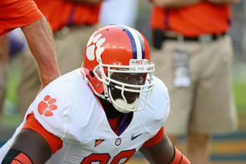 AUBURN, AL - SEPTEMBER 18:  Jarvis Jenkins #99 of the Clemson Tigers against the Auburn Tigers at Jordan-Hare Stadium on September 18, 2010 in Auburn, Alabama.  (Photo by Kevin C. Cox/Getty Images)