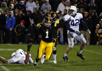 IOWA CITY, IA - NOVEMBER 8:  Iowa Kicker Daniel Murray #1 celebrates with teammate Ryan Donahue #5 after kicking the game winning field goal defeating Penn State Nittany Lions with six seconds left on the clock at Kinnick Stadium on November 8, 2008 in Io