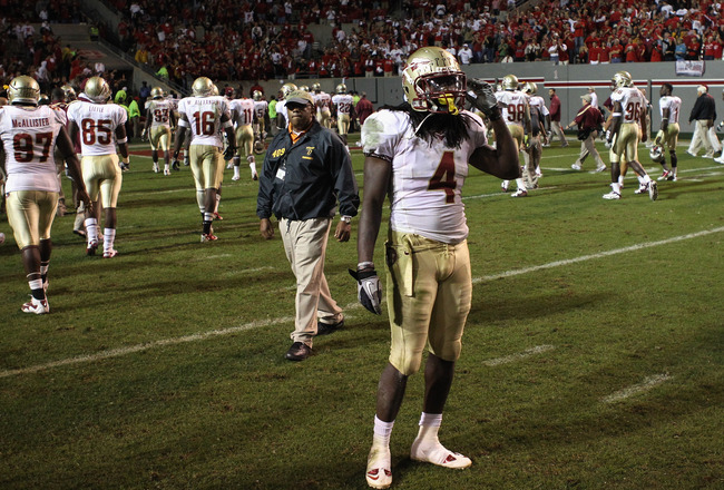 RALEIGH, NC - OCTOBER 28:  Terrance Parks #4 of the Florida State Seminoles watches on after a 28-24 loss to the North Carolina State Wolfpack at Carter-Finley Stadium on October 28, 2010 in Raleigh, North Carolina.  (Photo by Streeter Lecka/Getty Images)