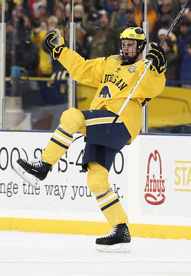 ANN ARBOR, MI - DECEMBER 11:  Jon Merrill #24 of the Michigan Wolverines celebrats a first period goal while playing the Michigan State Spartans at Michigan Stadium on December 11, 2010 in Ann Arbor, Michigan.  (Photo by Gregory Shamus/Getty Images)