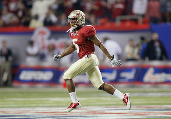 ATLANTA, GA - DECEMBER 31:  Greg Reid #5 of the Florida State Seminoles reacts after returning an interception against the South Carolina Gamecocks during the 2010 Chick-fil-A Bowl at Georgia Dome on December 31, 2010 in Atlanta, Georgia.  (Photo by Kevin