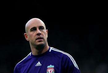 MANCHESTER, ENGLAND - JANUARY 09:  Pepe Reina of Liverpool looks on during the FA Cup sponsored by E.ON 3rd round match between Manchester United and Liverpool at Old Trafford on January 9, 2011 in Manchester, England. (Photo by Alex Livesey/Getty Images)