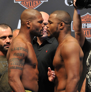 LAS VEGAS - MAY 28:  UFC fighter Quinton 'Rampage' Jackson (L) faces off against UFC fighter Rashad Evans (R) at UFC 114: Rampage versus Rashad at the Mandalay Bay Hotel on May 28, 2010 in Las Vegas, Nevada.  (Photo by Jon Kopaloff/Getty Images)