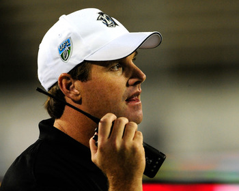 ORLANDO, FL - OCTOBER 22:  Offensive coordinator Jay Gruden of the Florida Tuskers watches the action during the game against the California Redwoods at the Florida Citrus Bowl on October 22, 2009 in Orlando, Florida.  (Photo by Sam Greenwood/Getty Images