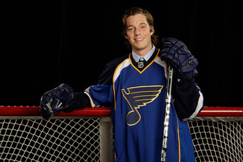 MONTREAL, QC - JUNE 26:  David Rundblad of the St. Louis Blues poses for a portrait after being selected #17 overall by the Blues during the first round of the 2009 NHL Entry Draft at the Bell Centre on June 26, 2009 in Montreal, Quebec, Canada.  (Photo b