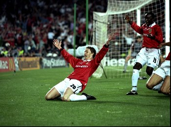 Super sub Ole Gunnar Solskjaer celebrates the goal that won Manchester United their second European Cup